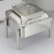 Square Glass Lid Chafer With Pipe leg